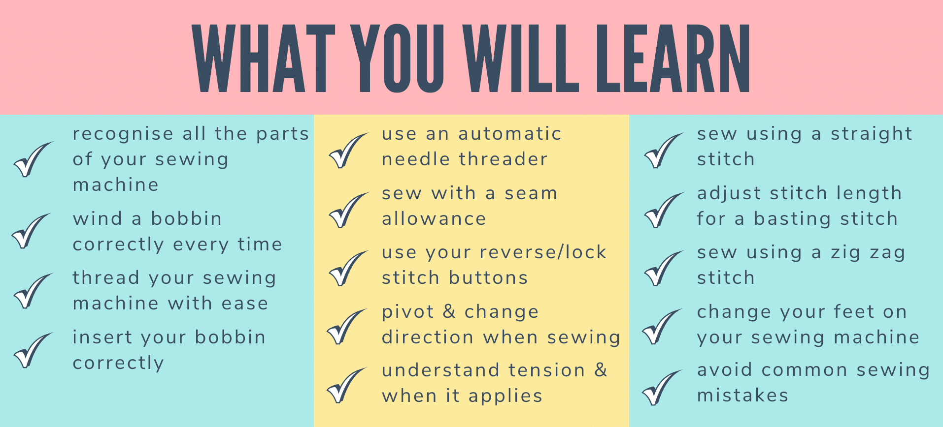 beginner sewing course - what you will learn